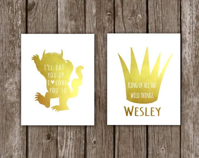 Chridtmas Where The Wild Things Are - I'll Eat You Up I Love You Nursery Decor for Boy Girl - Gold Foil Wall Art - Print, Baby Shower Jungle