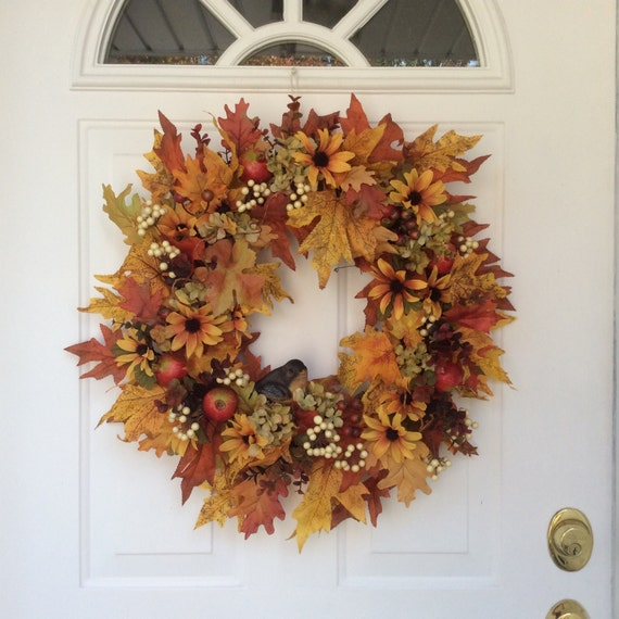 Autumn Wreath Wreath For Fall Front Door Fall Wreaths Bird: fall autumn door wreaths