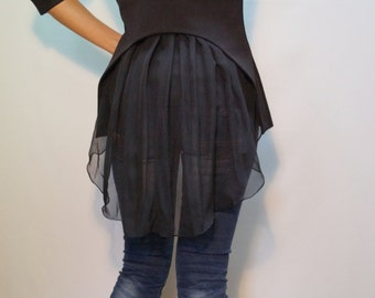 Black Jacket/Handmade Jacket/Summer Coat/Spring Summer Blazer/Blazer with Chiffon Back/F1489