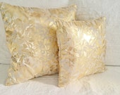 Decorative pillows, golden and off white, very beautiful gold color, Pillow covers hand made in luxury brocade, Throw pillows made in France