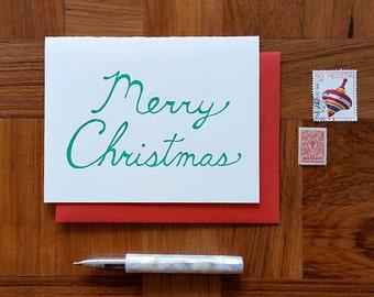 Merry Christmas Script, Letterpress Folded Note Card, Blank Inside