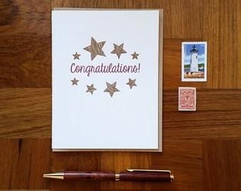 Congratulations, Letterpress Note Card, Blank Inside