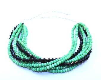 Green necklace, black necklace, beaded necklace, multistrand necklace, twisted necklace, big necklace, chunky necklace
