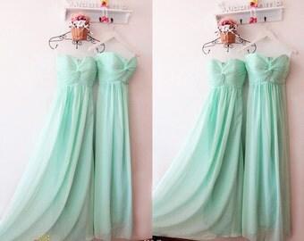 Mint Bridesmaid Dress,Modest Chiffon Bridesmaid Dress,Junior Strapless Bridesmaid Dress,Summer Bridesmaid Dress,Bridesmaid Dress Under 100