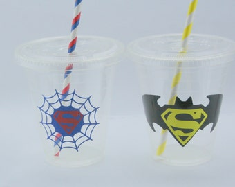 10 Super Hero Party Cups with Lids & Straws, Batman Party, Spiderman Cups, Super Hero Birthday Cups, Wonderwoman, Batgirl cups, Supergirl
