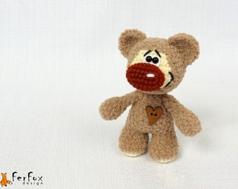 Plush Teddy Bear, woodland plush bear, brown stuffed bear, woodland animal, cute little bear, crochet animal, softie bear
