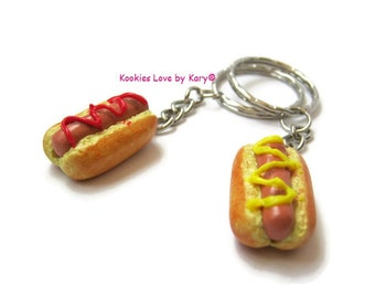 two keychains hot dog , a unique gift , polymer clay , cute , kawaii , miniature food , handmade charms, best friend