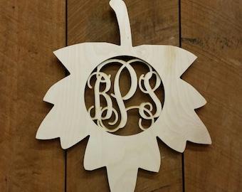 Unpainted Wooden Monogram Leaf Door Hanger - Fall Decor - Monogram Wall Hanging