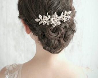 Bridal Hairpiece, Wedding Headpiece, Bridal Headpiece - GRETTA - Vintage Inspired Silver Bridal Haicomb