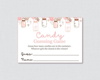 Mason Jar Baby Shower Candy Guessing Game Printable - Guess How Many Candies, M&Ms, Jelly Beans, etc - Instant Download - Mason Jar