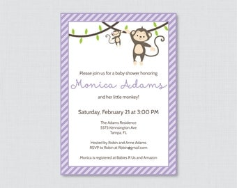 Monkey Baby Shower Invitation Printable Invite - Monkey Baby Shower Invites in Purple and Stripe Girl Baby Shower Monkey Invitation - 0009-V