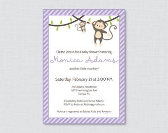 Monkey Baby Shower Invitation Printable or Printed Invite - Monkey Baby Shower Invites in Purple Girl Baby Shower Monkey Invitation - 0009-V