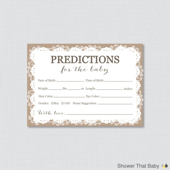 Guess The Birth Date Baby Shower Game: Burlap And Lace Baby Shower Prediction Cards Instant