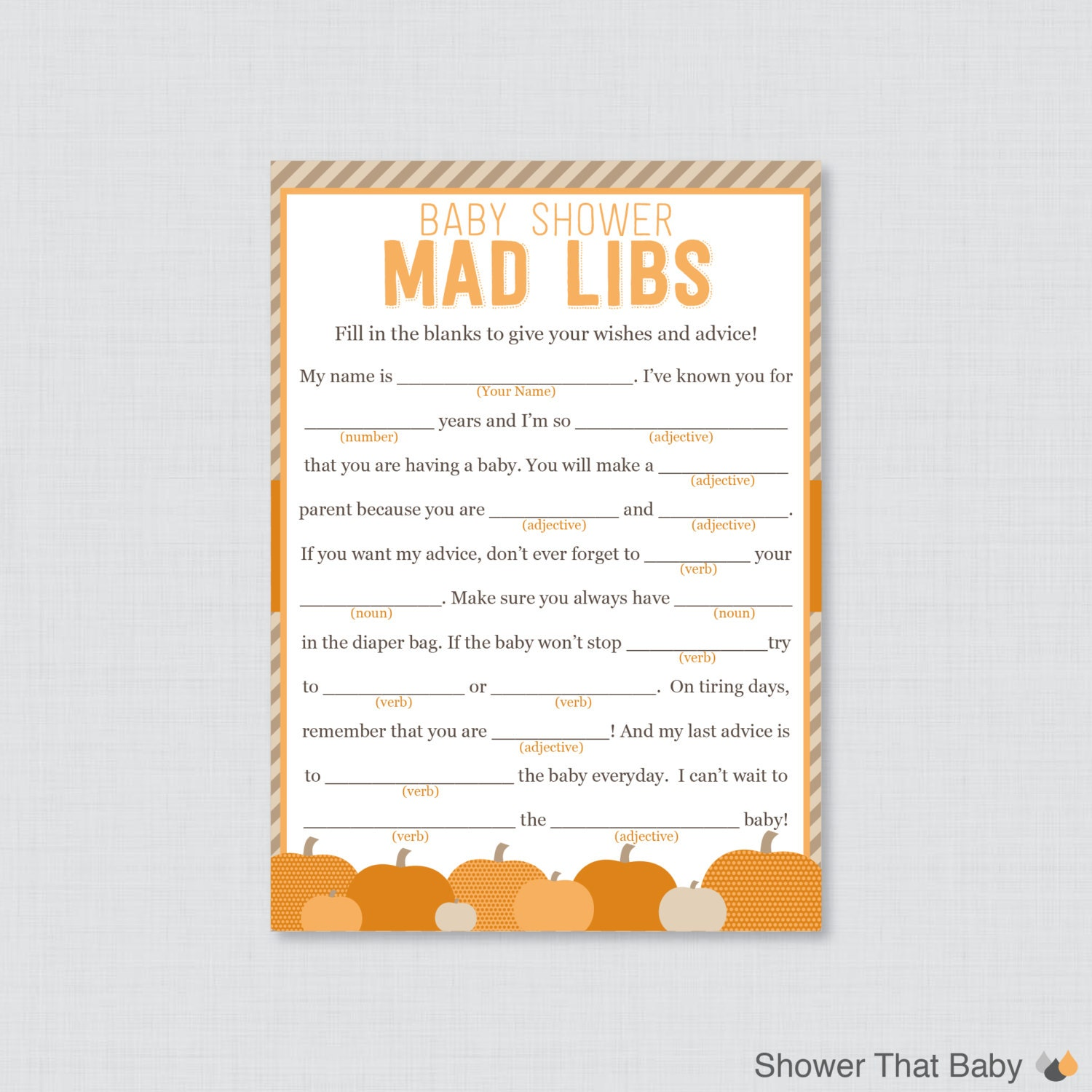 Little pumpkin baby shower mad libs printable baby shower zoom pronofoot35fo Image collections