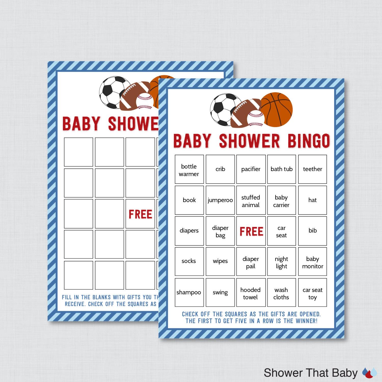 sports themed baby shower bingo printable prefilled bingo