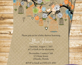 Bird Cage Baby Shower Invitation - Bird Baby Shower Invite - Orange Green Blue Bird Cage Invitation - Boy Baby Shower Invite -1122 PRINTABLE