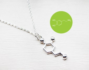 Dopamine Charm Necklace - Science Necklace - Chemical structure happy hormone Molecule Pendant