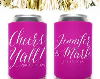 Cheers Yall Wedding Favors: Custom and Personalized Can Cooler // Ya'll Y'all Southern