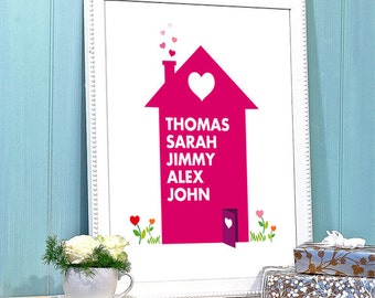 Personalized Family Home Print, Graphic Design, Illustration wall Poster,Printable Home Decor Instant Download,Lover,Heart,love,Person, gift