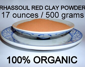 Moroccan Red Rhassoul Clay Powder 100% Organic and Natural Red Ghassoul Clay Powder 17 Ounces