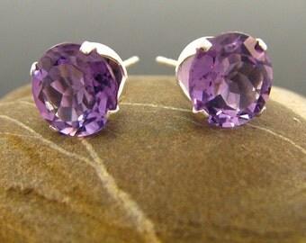 Amethyst earrings, big amethyst stud earrings, amethyst studs - amethyst earings 9 mm