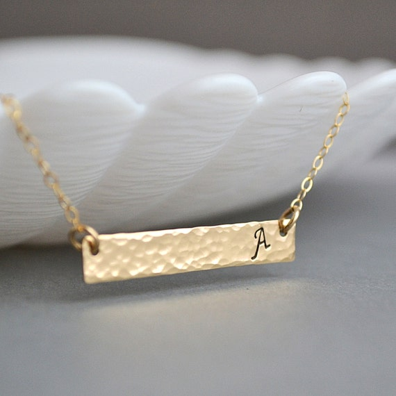 Bar necklace hammered name necklace hammered jewelry for Rose gold personalized jewelry