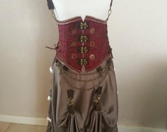 Steampunk Under Bust Corset with Removable Straps