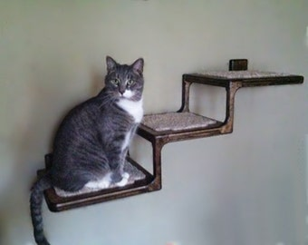 3 step wall mounted cat stair. Black Bedroom Furniture Sets. Home Design Ideas