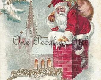 Vintage Christmas Postcard, Vintage Postcard, Santa Claus Climbing Down Chimney, Girl Snuggled in Bed, Christmas Image, INSTANT download