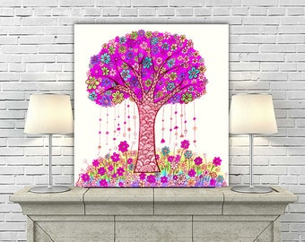 Pink Home Decor, Abstract Tree Art PRINT, Girls Baby Room Decor, Tree Painting, Tree Wall Decor, Abstract Poster, Modern Landscape