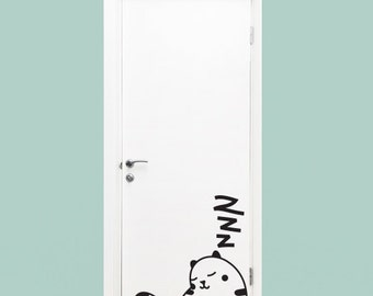 Wall Decal Sleepy Cat- Vinyl Door Decal- Home Decor- Wall Art