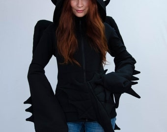 Night Fury Hoodie, inspired by dragon toothless from httyd cartoon movie