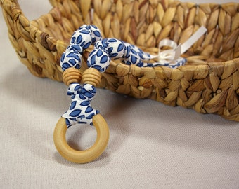 100% Organic Cotton Natural Teething Necklace with Wood Ring - Navy Leaves