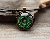 Art jewelry New Age necklace Sacred geometry talisman Mandala pendant OW85