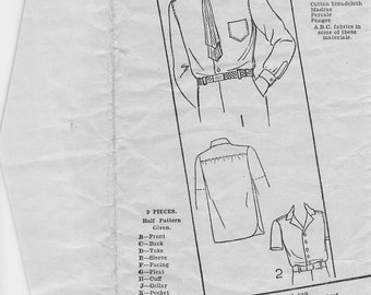Excella 4236 / Vintage '20s Boy's Sewing Pattern / Long & Short Sleeved Shirt / Size 12