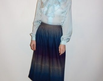 70s wool A-line skirt with ombre stripe design and small waist blues, purples, greys XS S gradient striped sunset colors rainbow