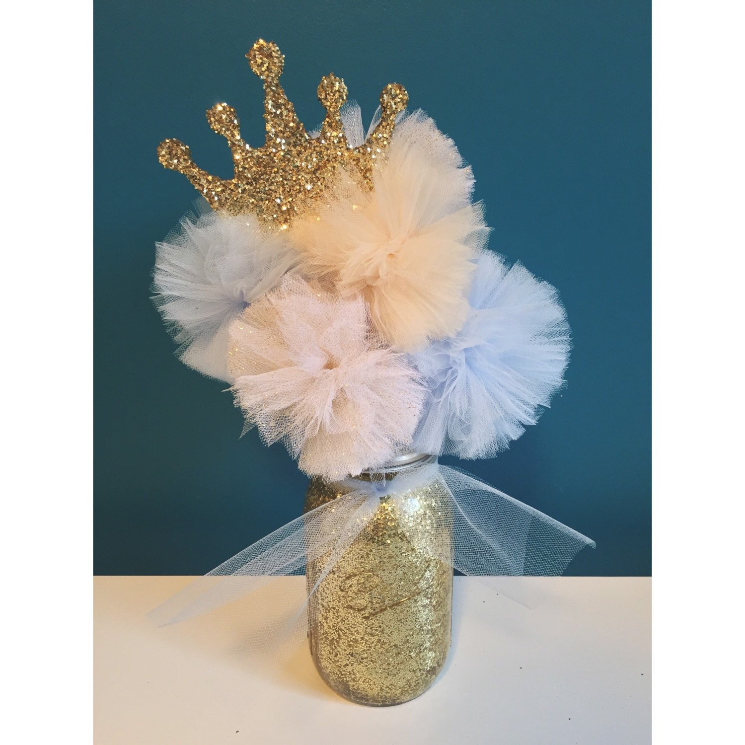 Cinderella Inspired Gold Glitter Tulle Pom By
