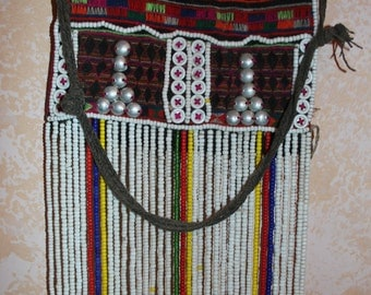 Vintage Purse : Small Vintage Akha Fancy Flap from Northern Thailand ca 1950's-60's #418