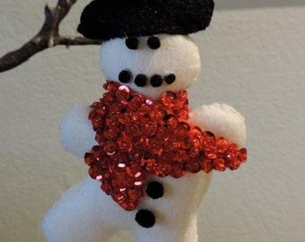 Sequin Ornament,  Felt Ornament,  Snowman Ornament,  Christmas Ornament,