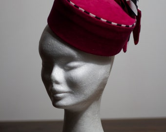 Hot Pink Velvet Pill Box Hat, with Black and White Striped detail. Hand made, one of a kind.