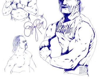 Hulk Hogan Drawing Terry Gene Bollea Blue Pen Art  WWE WWF World Wrestling Federation Entertainment Champion Fighter