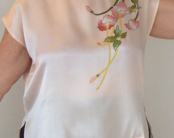 Silk Vintage Blouse, Pale Pink Top, Floral Design, Silk Beach Wear, Travel Wear, Wearable Art, Vintage Floral, Vintage Pink Top