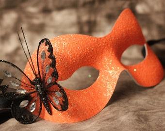 Orange Halloween Mask Masquerade Ball Black Glitter Butterfly