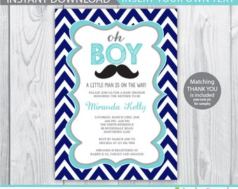 boy baby shower invitation / chevron baby shower invitation / oh boy baby shower / oh boy invitation / oh boy baby shower invitation INSTANT