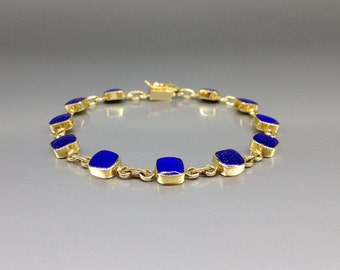 Fine and classic bracelet with Lapis Lazuli set in 18K gold - gift idea