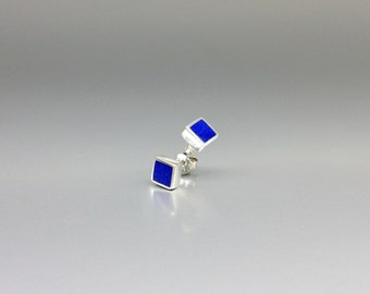 Elegant earrings studs with Lapis Lazuli and Sterling silver - modern square design - gift idea - AAA Grade afghan Lapis - fine jewelry