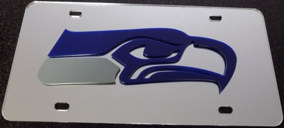 Seattle Seahawks Mirror License Plate With Laser Cut Acrylic Logo
