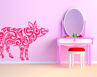 Pig, Tribal Pattern. Vinyl wall sticker decal art. Any colour and a choice of sizes.(#47)