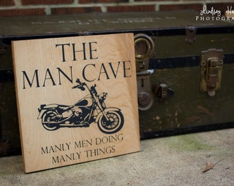 Man Cave Sign with motorcycle Wood Sign
