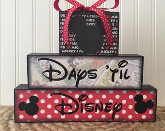 Disney vacation chalkboard countdown wood blocks
